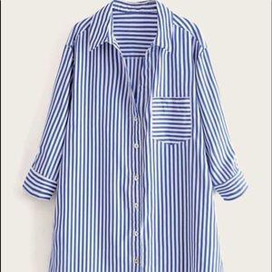 SheIn Curved Hem Striped Pocket Dress